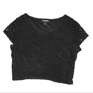 Lace capped sleeve crop